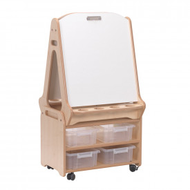 Double Sided 2 in 1 Easel & Stand/Storage Trolley