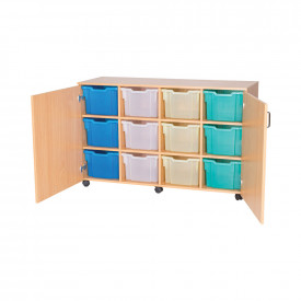 Mobile 12 Extra Deep Tray Cupboard Unit - With Trays