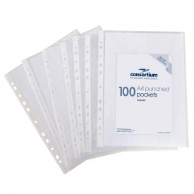 Budget Essentials A4 Recycled Punched Pockets